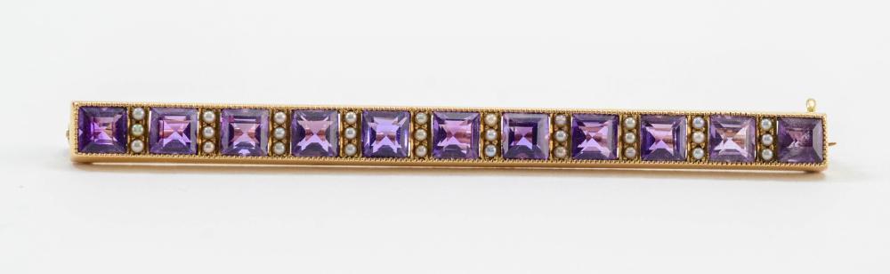 14K Amethyst & Seed Pearl Bar Pin
