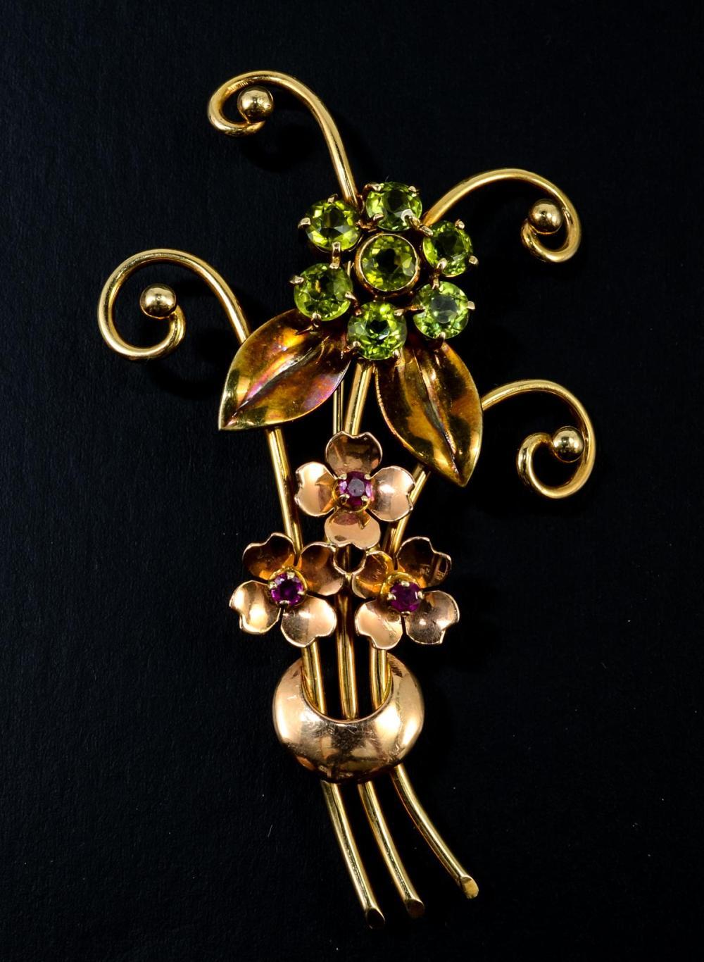 Tiffany & Co 14K Rose Gold Gemstone Pin