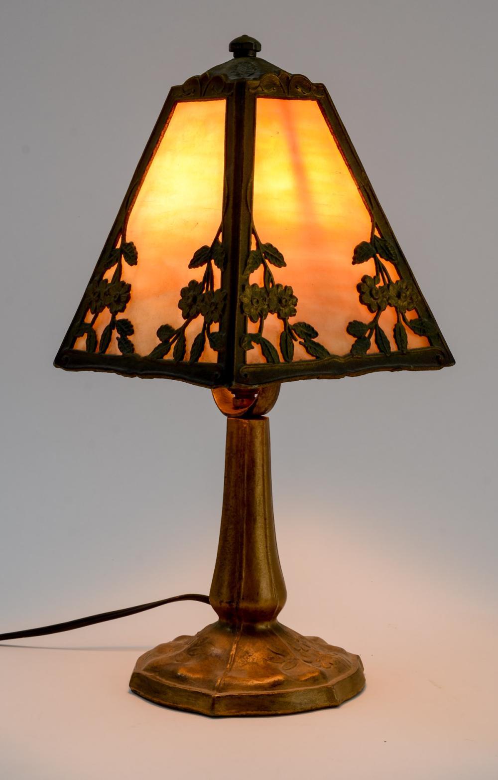Slag Glass Boudoir Panel Lamp