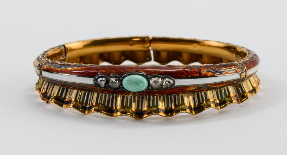 Antique 18K Enamel Bracelet