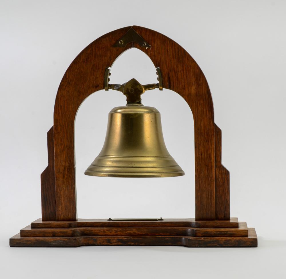 Antique Brass Bell in Oak Stand