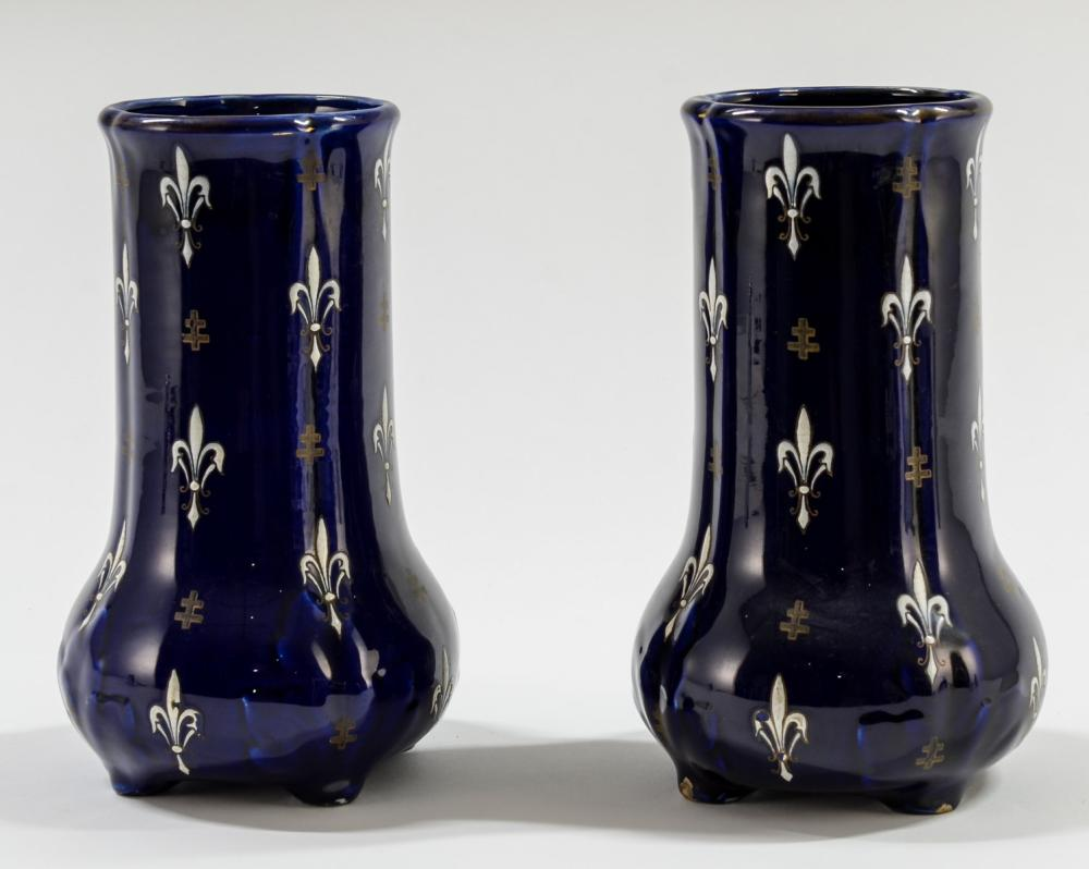 Pair of French Enamel Vases: Luneville