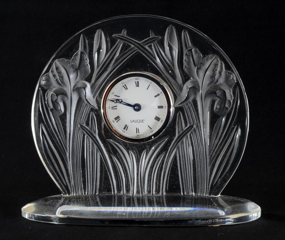 Lalique Crystal Iris Desk Clock