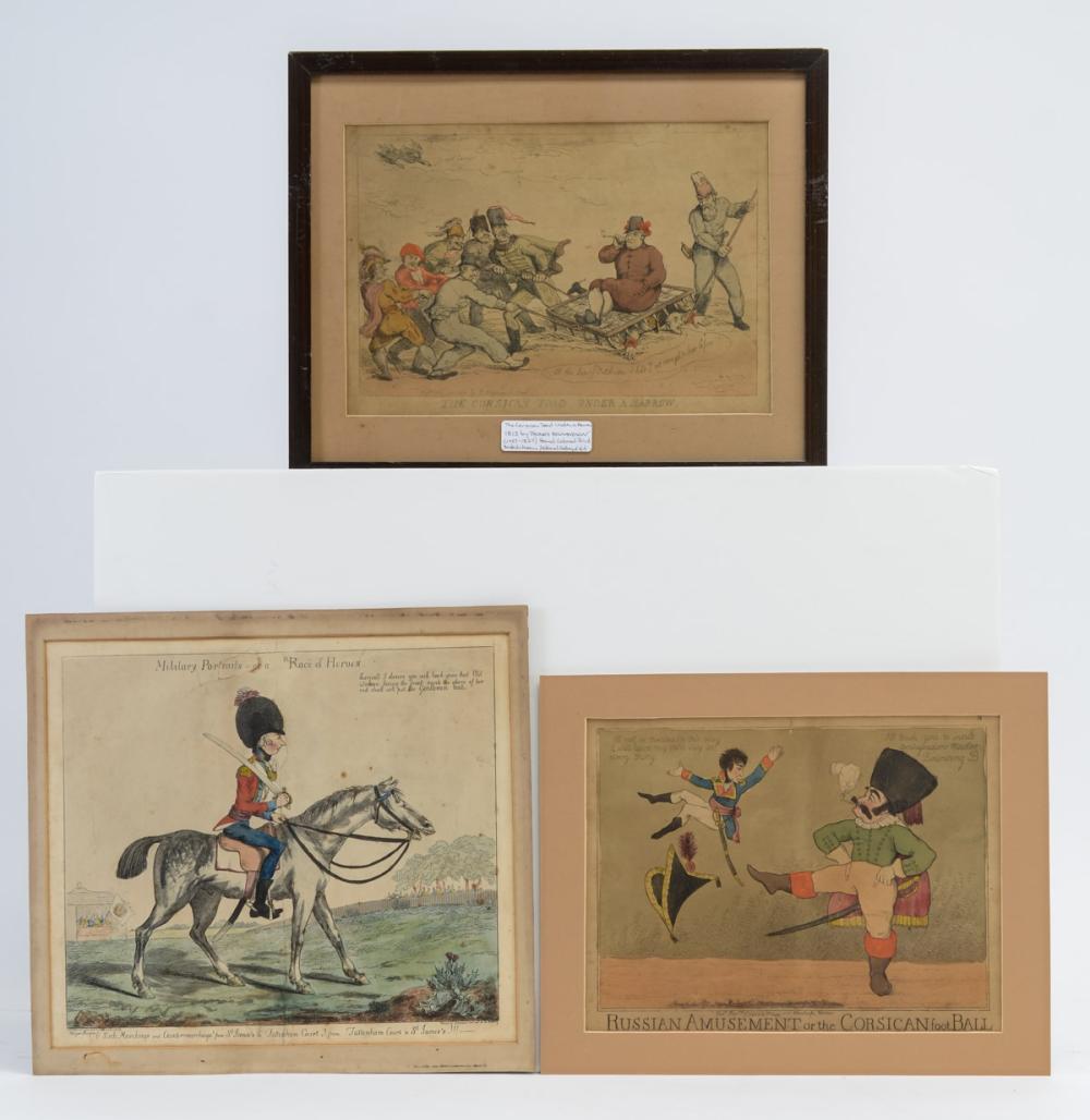 Three English Caricature Etchings