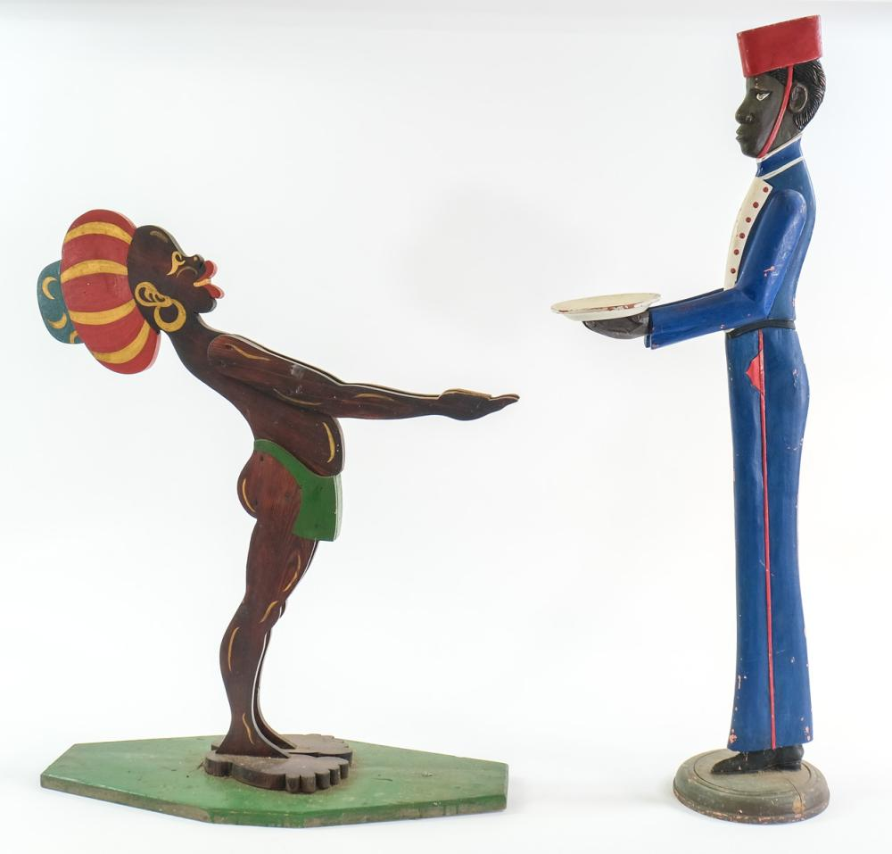 Two Black Americana Smoking Stands