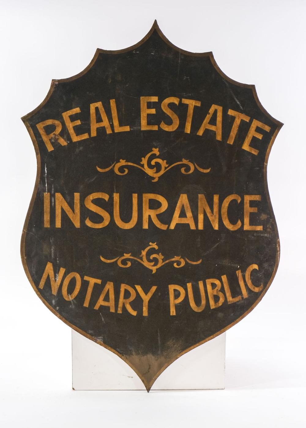 Cast Iron Real Estate Insurance Notary Sign
