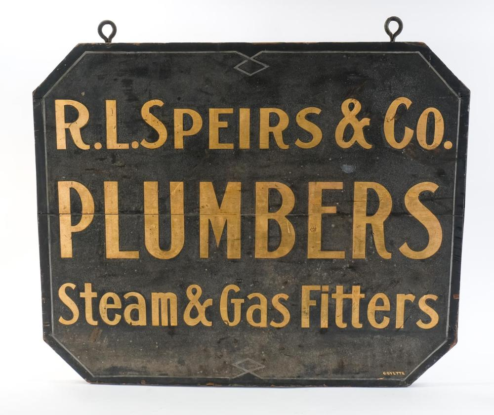 Antique Plumbers Trade Sign