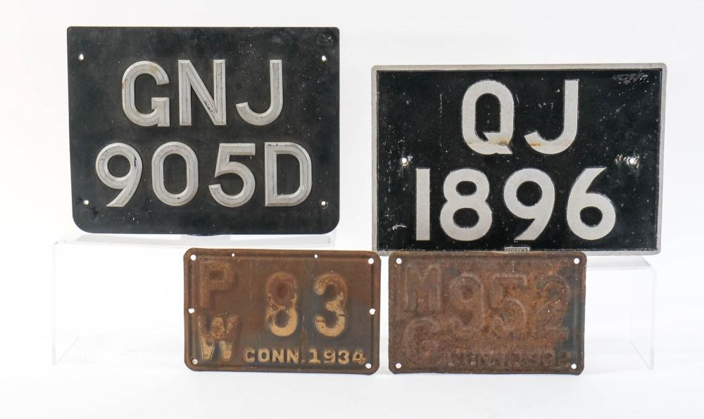 Four License Plates UK / American