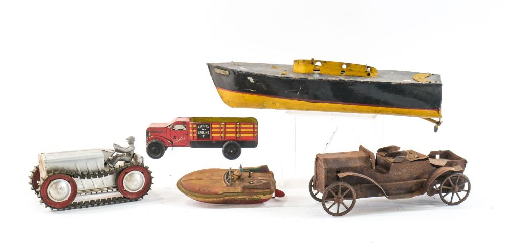 Tin Toys: Boat, Car, Tractor, Truck