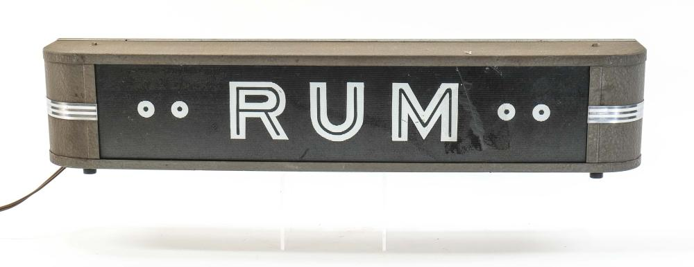 Art Deco Lighted RUM Sign, Bar Advertising