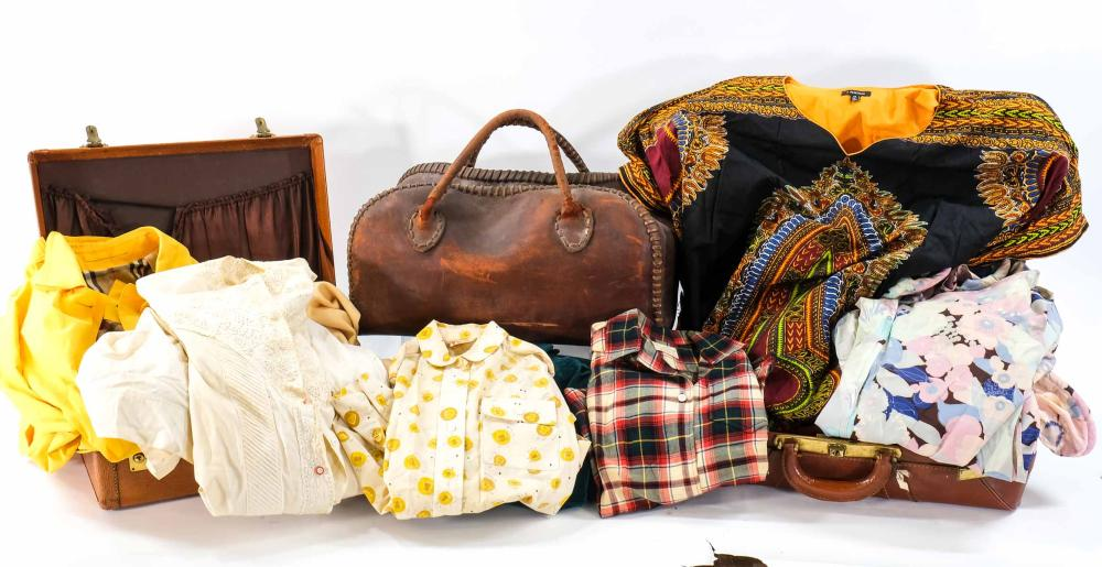 Suitcases and vintage clothing