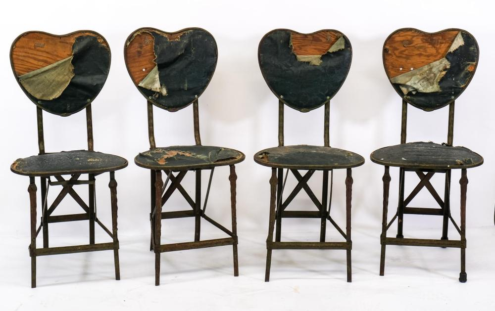 Four Heart-Form Steel Folding Chairs