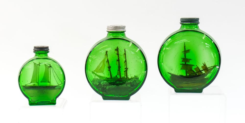 Three Vintage Ships in a bottle