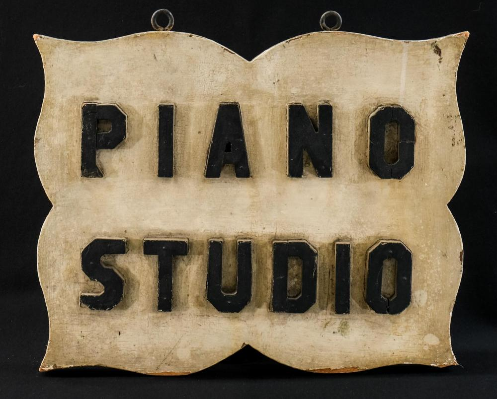 Vintage Painted Wood Piano Studio Sign