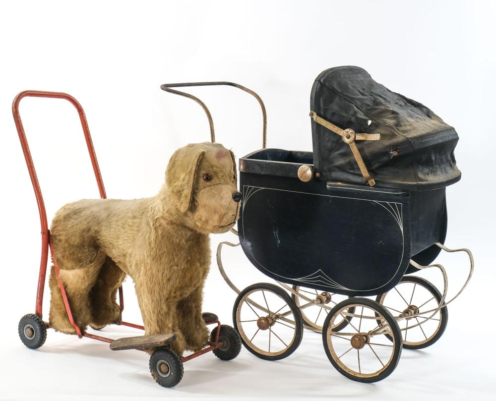Tri-Ang Ride on Dog Toy and Baby Carriage