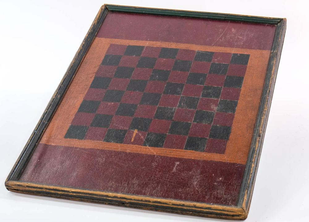 Antique Painted Double Sided Games Board