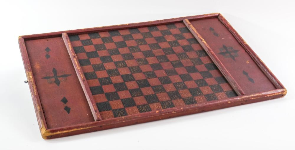 Antique Country Painted Chess / Checkers Board