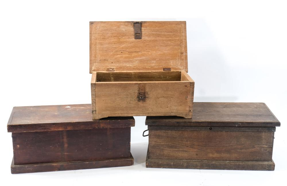 Three Antique Wood Boxes
