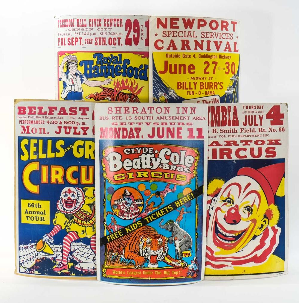 Six Vintage Lithograph Circus Posters