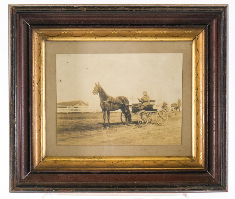Framed Horse and Buggy Photograph