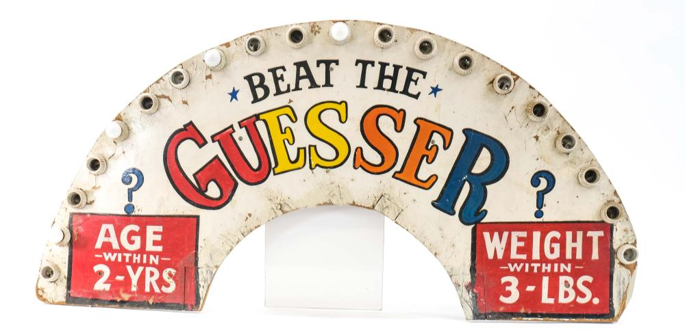 Beat the Guesser Carnival Midway Sign