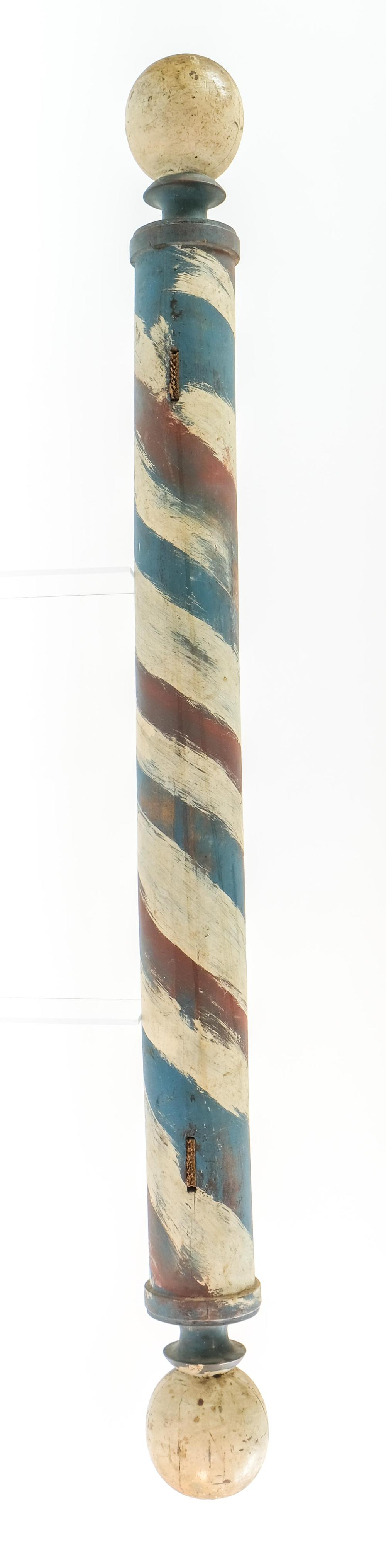 Antique Painted Wood Barbers Pole