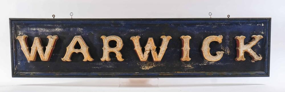 Hand Carved Gilt and Painted WARWICK Sign