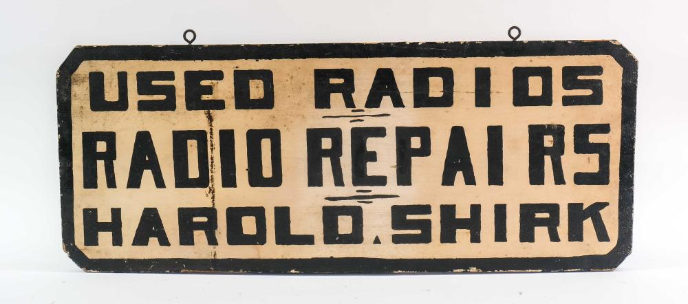 Double Sided Trade Sign: Used Radios