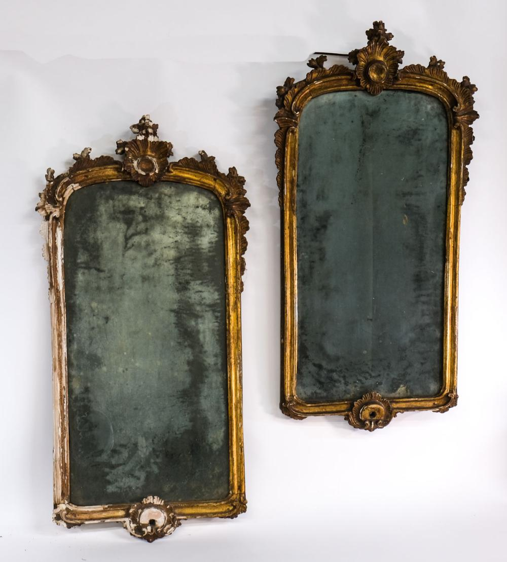Pair of Giltwood and Gesso Mirrors