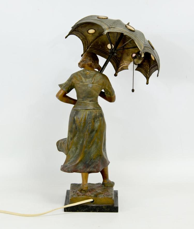 Woman With Umbrella Figural Table Lamp