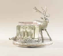 Rogers Smith Silverplate Figural Stag Inkwell