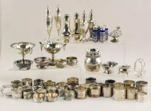 Collection of napkins rings and salts