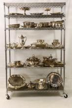 Large Lot: silver plate serving pieces