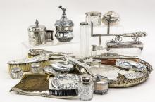 Group of Silverplate dresser items
