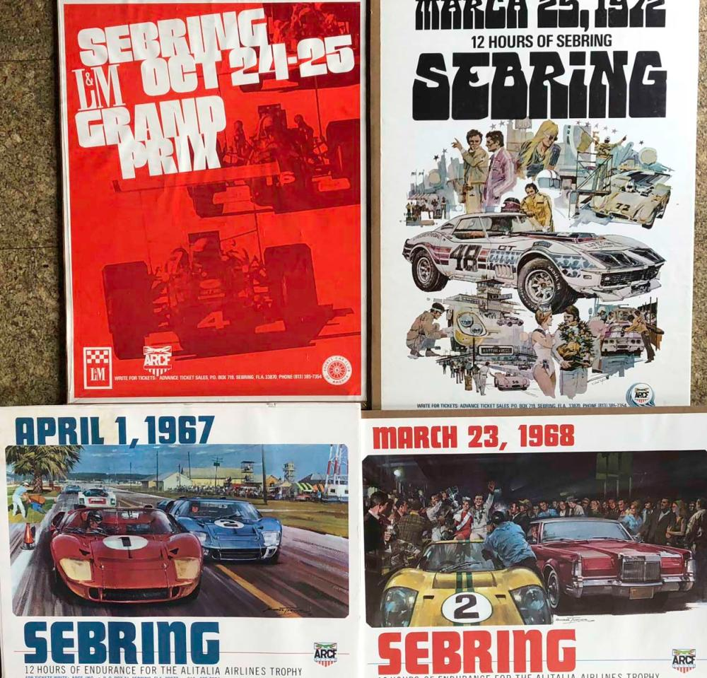 Four original Sebring race posters