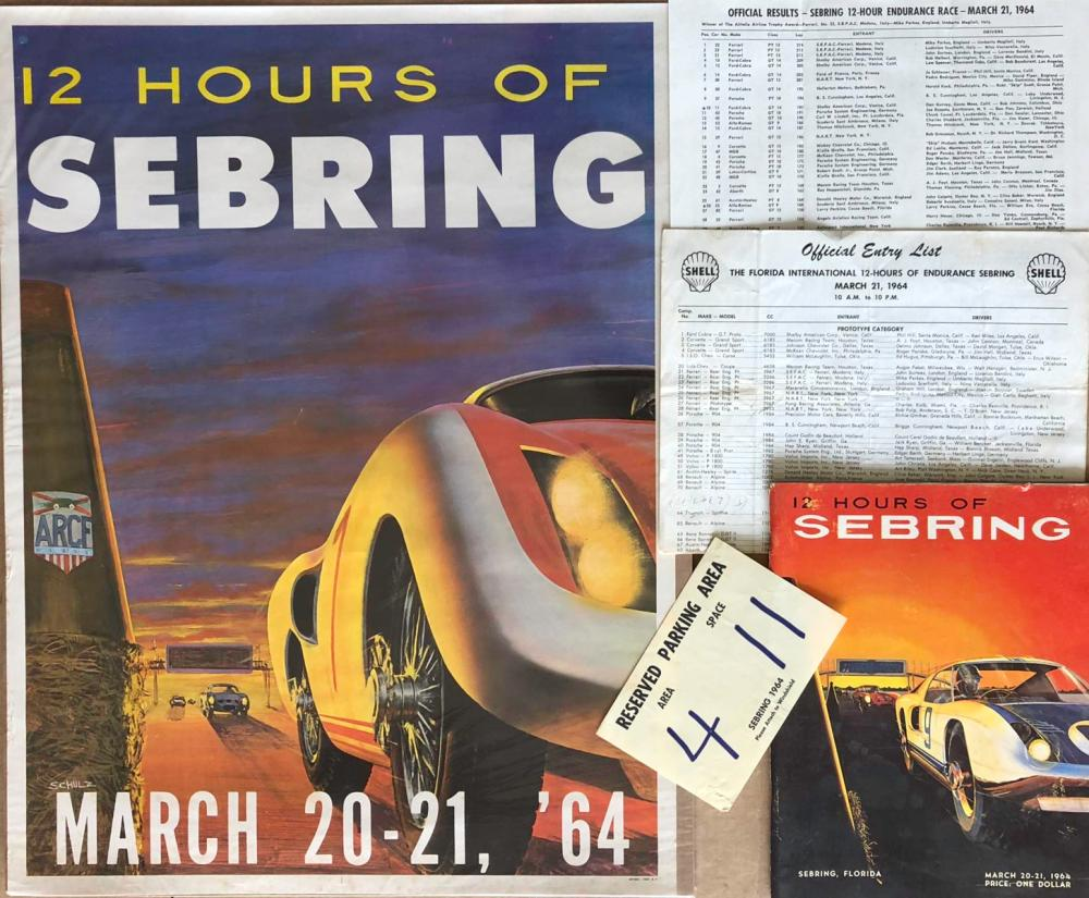 Original 1964 Sebring 12 hour race poster, program
