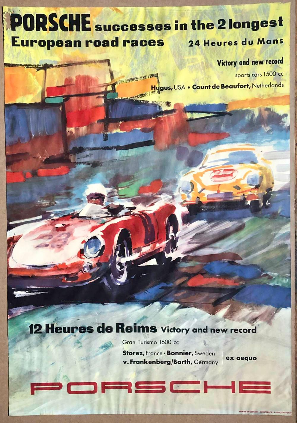 Original 1950's Porsche victory poster