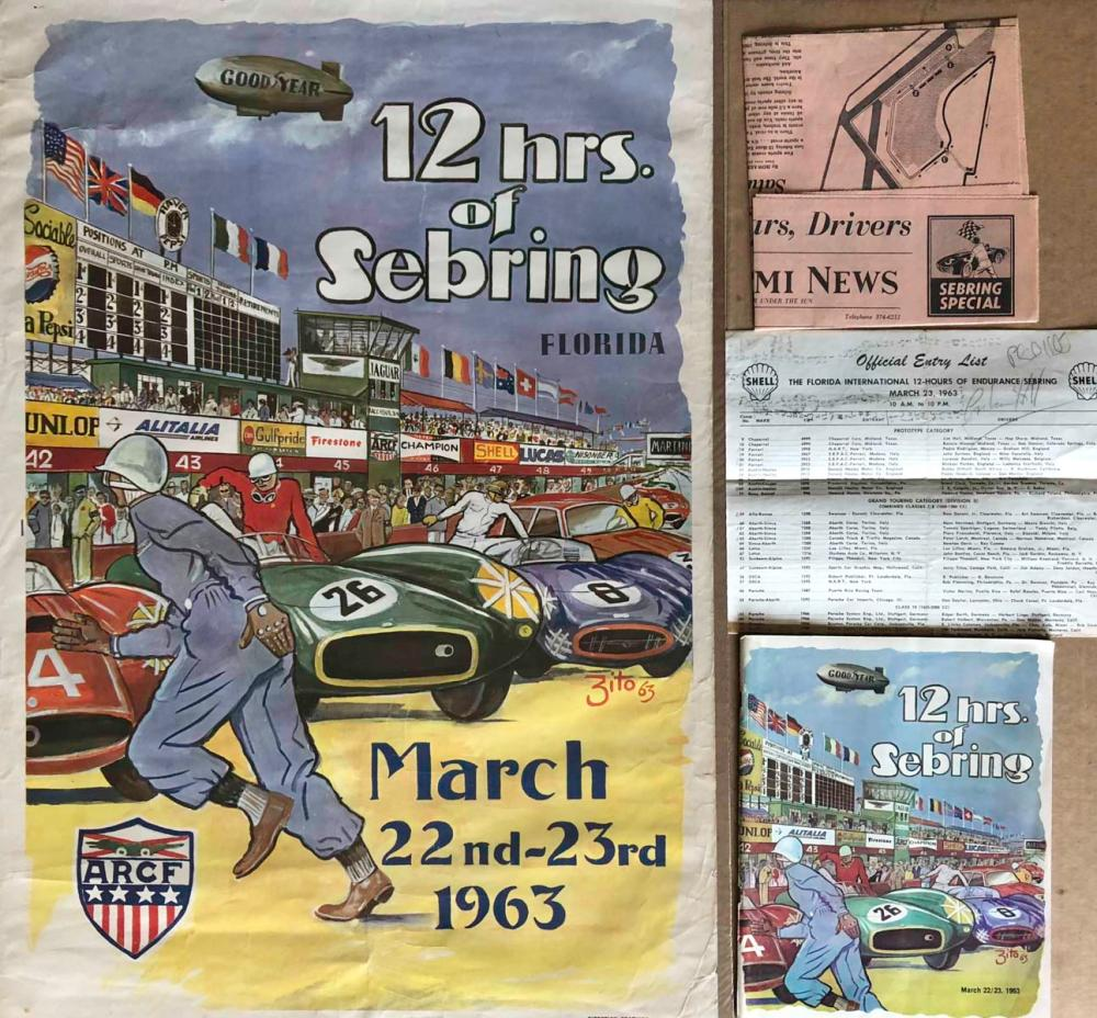 Original 1963 Sebring 12 Hour race poster, program