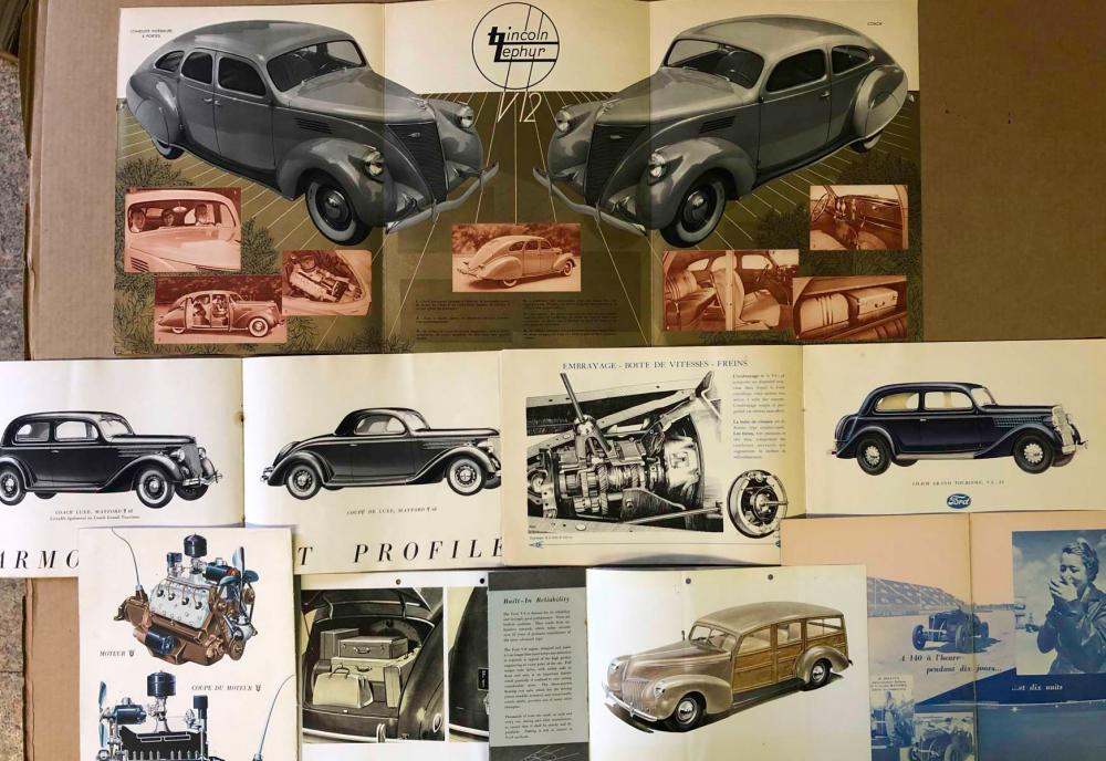 1930's Ford, Linc Zephyr broc for Euro markets