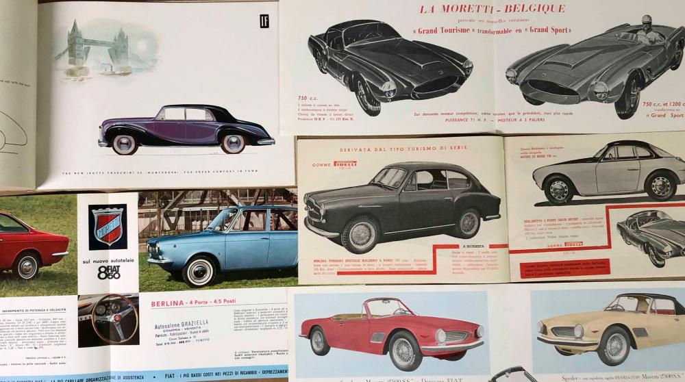 Italian brochures - Moretti, Lancia, Alfa, Siata,