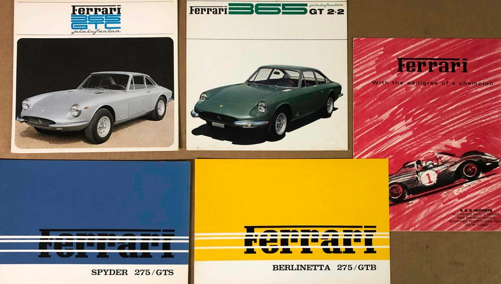 Five Ferrari brochures