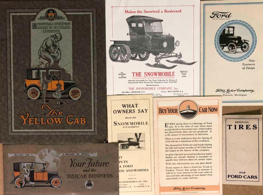 Yellow Cab and Model T Ford brochures