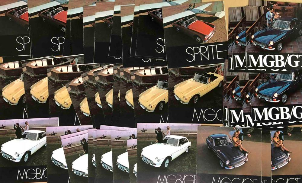 Large lot MG B, MG C, Midget, Sprite brochures
