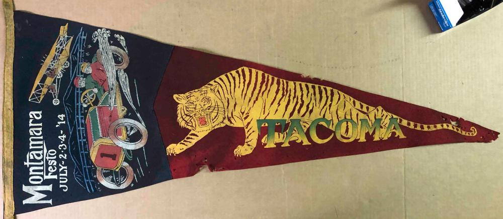 1914 Montamara Festo car and tiger image pennant