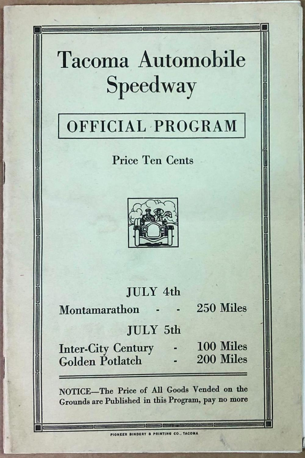 1915 Tacoma Speedway Official Program