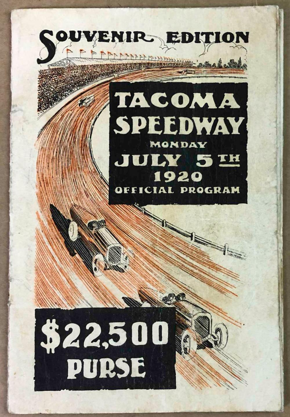 1920 Tacoma Race program, graphic cover illustrati