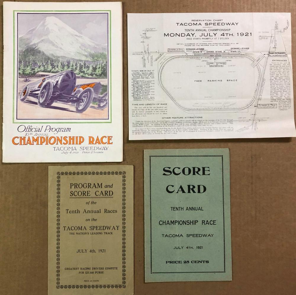 1921 Tacoma Race items, program, three other items