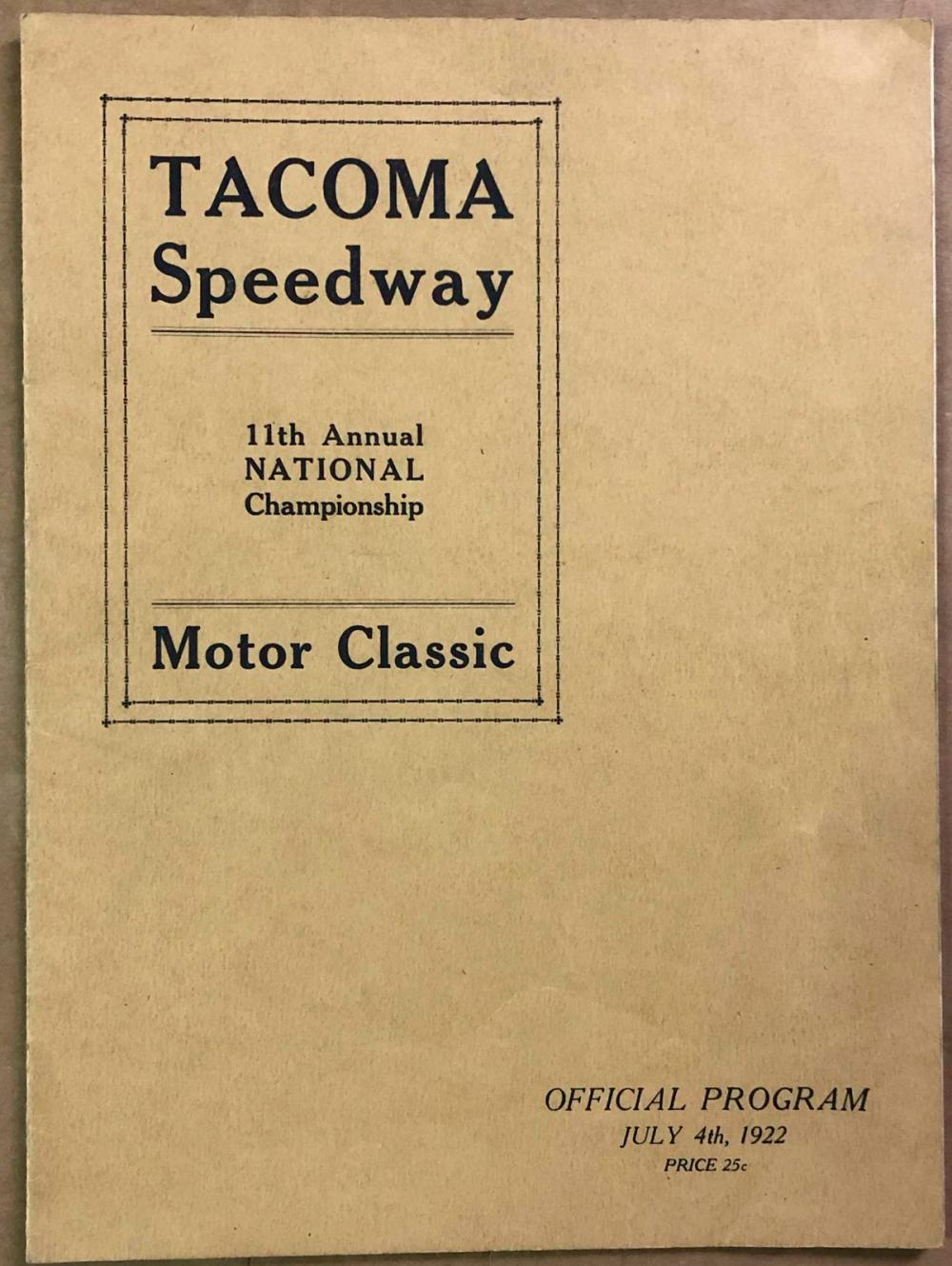 1922 Tacoma  program - Jimmy Murphy autographed