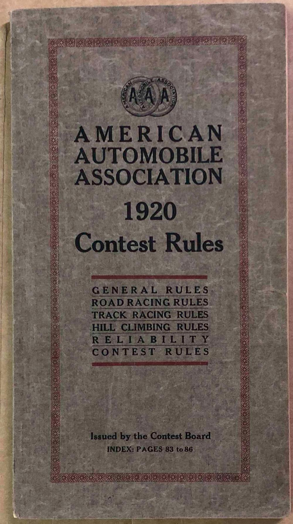 1920 AAA Contest Board rules book
