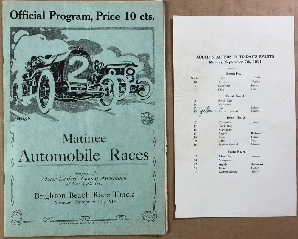 1914 Brighton Beach race program / starters sheet